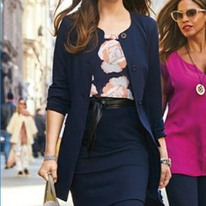 CAbi Lido Button Front Navy Jacket
